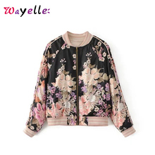 купить Boho Bomber Jacket Floral Print Zippers Women Jackets and Coats Winter Long Sleeve Streetwear Coat Women Chic Cropped Jacket дешево
