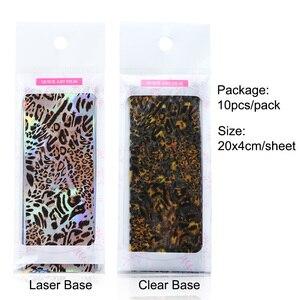 Image 5 - 10 adet leopar baskı tırnak kaplaması çıkartmalar Nail Art transferi folyo seti holografik tasarım yapıştırıcı sarar dekorasyon manikür TR2001 1