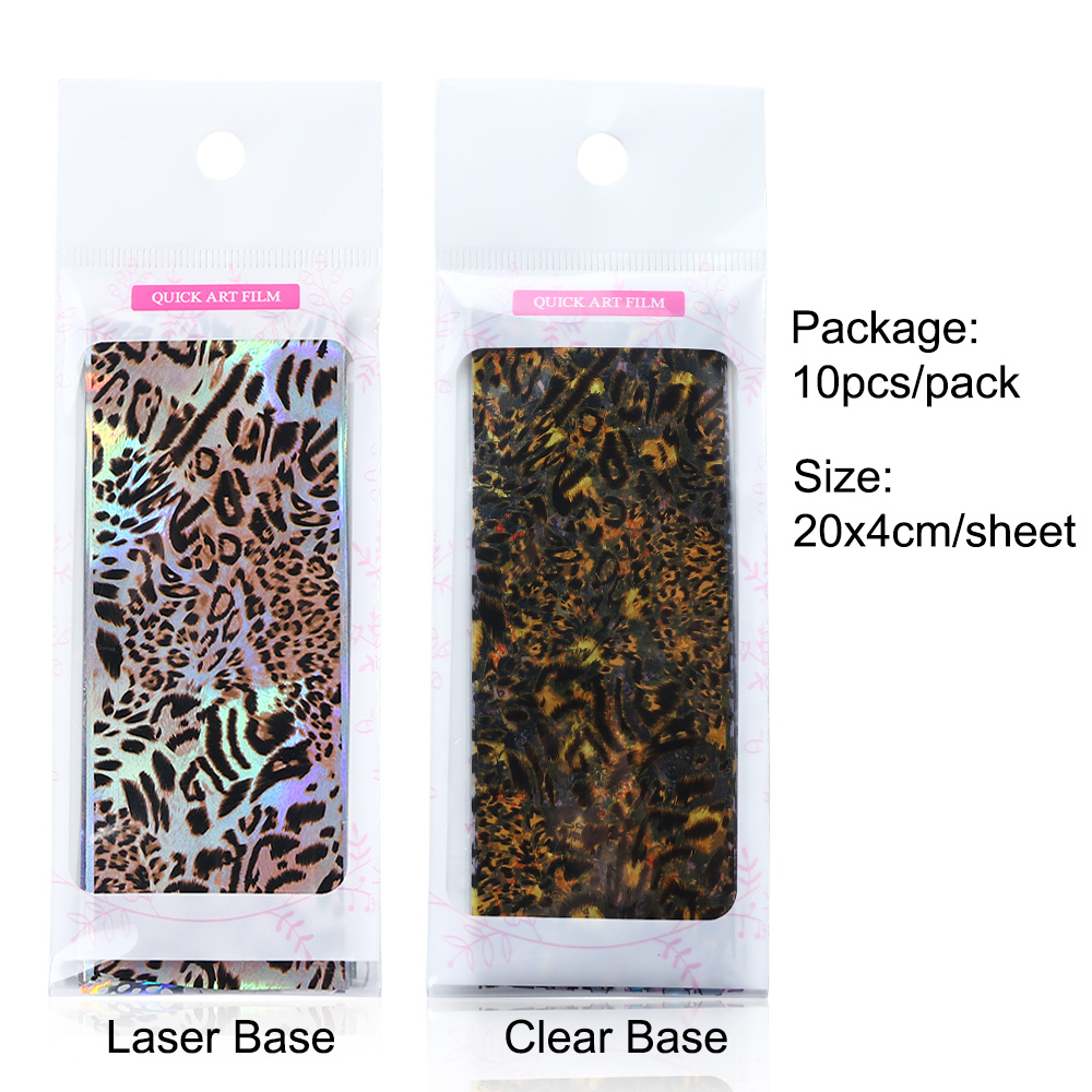 Image 2 - 10pcs Leopard Print Nail Foil Stickers Nail Art Transfer Foils Set Holographic Design Adhesive Wraps Decoration Manicure TR2001-in Stickers & Decals from Beauty & Health
