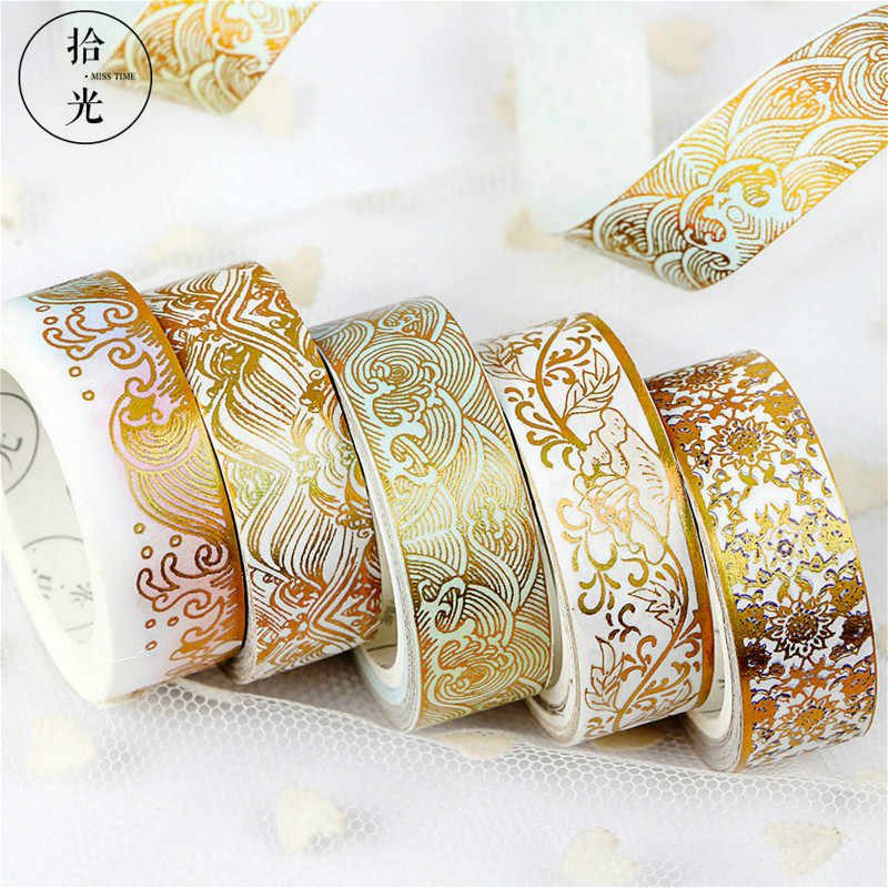 Chinese Style Golden 5M*1.5CM Tape Ribbons for Wedding Christmas Party Decorations DIY Bow Craft Card Gifts Wrapping Supplies