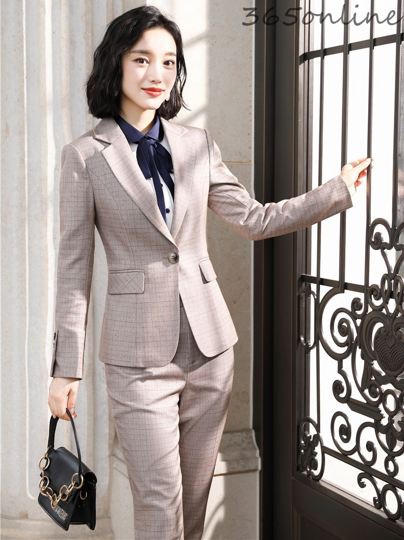 OL Styles Pantsuits High Quality Fabric Formal Women Business Suits With Pants And Jackets Coat Autumn Winter Blazers Set