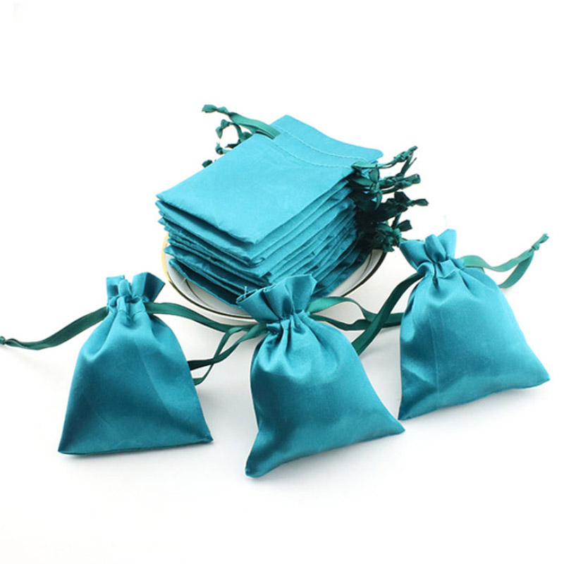 Turquoise Silk Stain Gift Packaging Bag Tiffany Sack 8x10cm 9x12cm 10x15cm(4