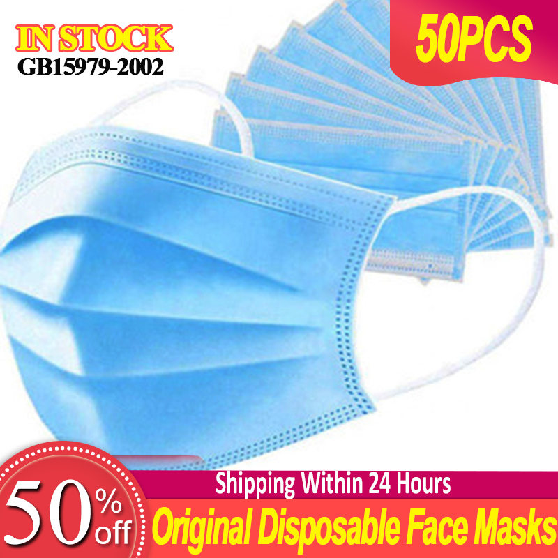 Original 50pcs Mask Disposable Nonwove 3 Layer Ply Filter Mask Mouth Face Mask Filter Safe Breathable Protective Masks