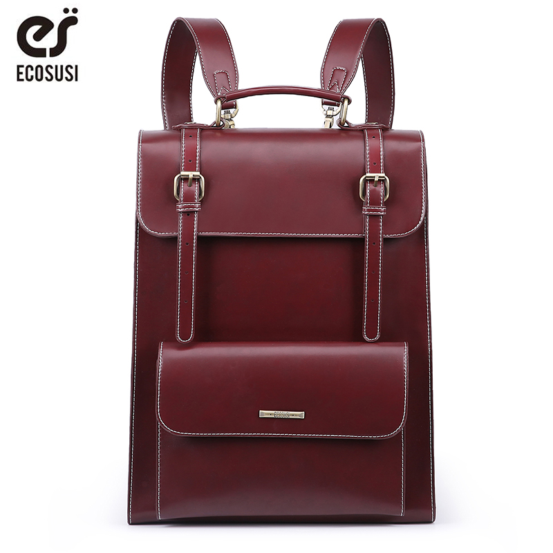 ECOSUSI Laptop Backpack Retro Women Bags PU Leather Bags Messenger School Travel Bag Vintage Female Larger Capacity Backpack
