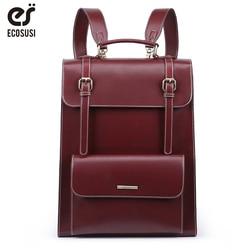 ECOSUSI Laptop Backpack Retro Women Bags PU Leather Bags Messenger School Travel Bag Vintage Female Larger Capacity Backpack