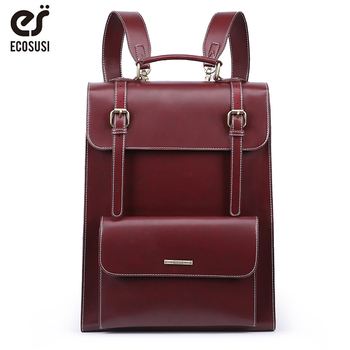 ECOSUSI Laptop Backpack Retro Women Bags PU Leather Bags Messenger School Travel Bag Vintage Female Larger Capacity Backpack three box mens backpack fashion pu leather backpack leisure student school bag for women men vintage casual laptop business bags