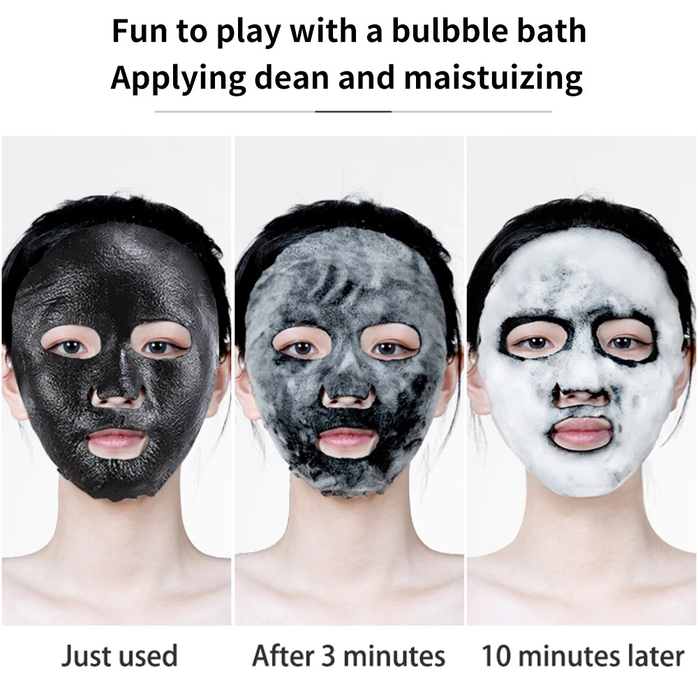 1pc Black Sea Salt Pure Moisturizing Bubble Facial Mask Deep Cleansing Oil Control Skin Rejuvenation Shrink Pore Foam Black Mask-3