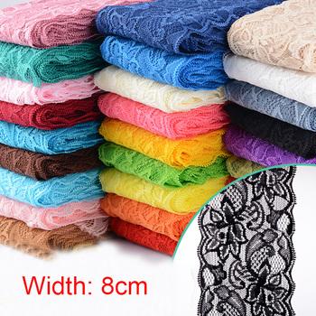 8cm elastyczna wstążka z koronki DIY koronki wykończenia tkaniny haftowane białe koronkowe wykończenia dla rzemiosła materiał do szycia dodatki do odzieży tanie i dobre opinie Wusmart CN (pochodzenie) Elastan poliester LS8cm
