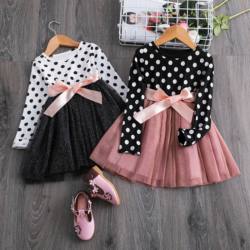 2019 Autumn Winter Girl Dress Long Sleeve Polka Dot Girls Dresses Bow Princess Teenage title=
