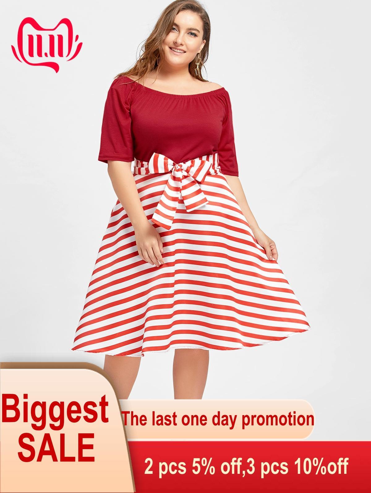 Kenancy Women Retro Dresses Plus Size Stripe Christmas Party ...