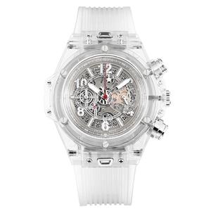 Image 2 - Voll Transparent Uhr Männer Military Klassische Silikon Sport Quarz Chronograph Herren Uhren Top Marke Luxus Uhren Hombre 2019