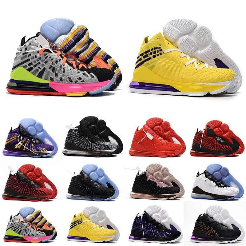 2020 17 Basketbal Schoenen 17 S James Martin Remix Rood Zwart Wit Geel Multicolor Superbron Lebron Sneakers Trainers Maat 40 -46