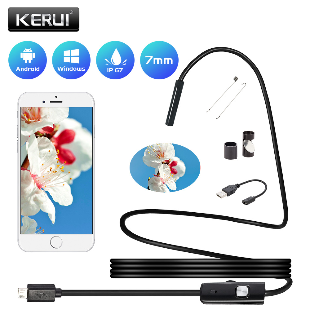 KERUI Endoscope For Android Smart Phone Mini Camera 7mm 5.5mm Lens 1m 1.5 M 3.5m 5m Waterproof Endoscope Inspection For Car PC