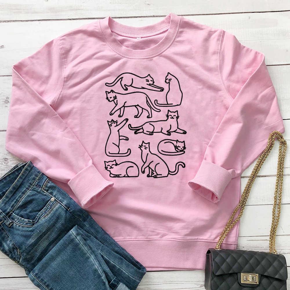 Koty nadruk miau bluza damska Streetwear śmieszne Kawaii jesień sweter zabawna dziewczyna estetyczne bluzy z długim rękawem Dropshipping