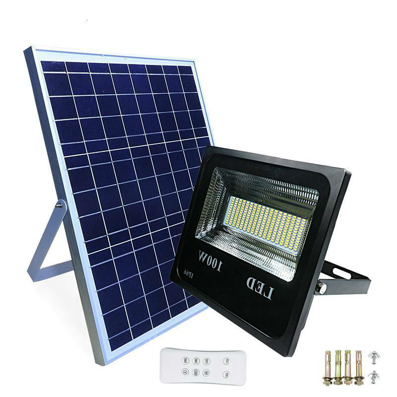 5pcs Solar Flood Light Double Color  Remote Control Solar Powered LED Floodlight Outdoor Waterproof Solar LED Light Spotlight