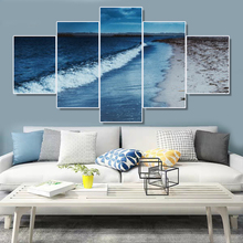 Laeacco Canvas Calligraphy Painting Sae Beach Wall Art Abstract 5 Panel Poster Print Nordic Home Living Room Decoration laeacco canvas calligraphy painting abstract 5 panel unicorn wall art animal poster and print nordic home living room decoration