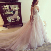 sevintage 3D Flowers Bridal Gowns Bohemia Wedding Dresses Deep V Neck Backless Long Train Bride Dresses vestido casamento dia