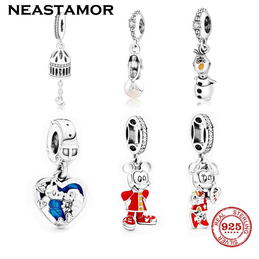 Yeni stil gümüş renk kırmızı emaye Minnie Mickey kolye boncuk Charms Fit orijinal Pandora bilezik bilezik takı yapımı