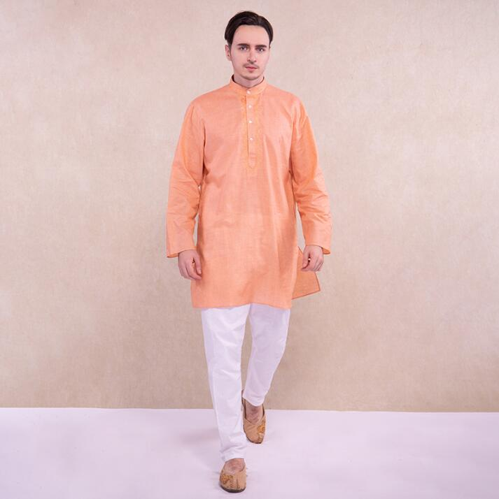 India Style Man Suits Ethnic Embroidery Sets Comfortable Cotton Clothing Loose Long Sleeves Thin Sets