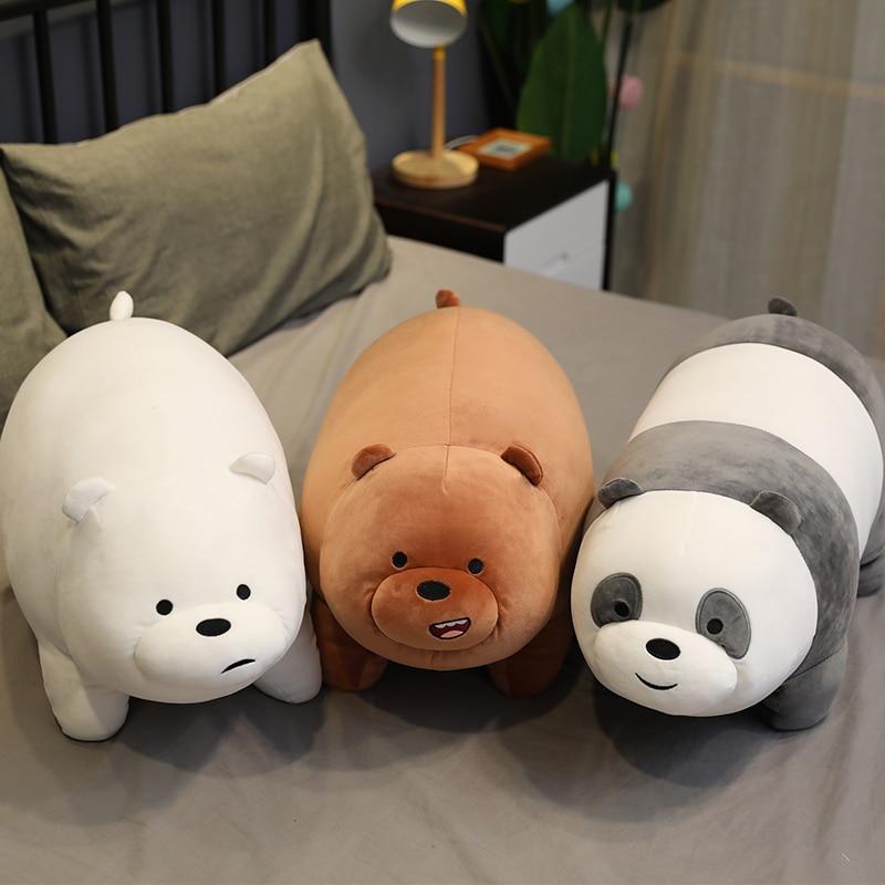 Cartoon Three Bare Bears plush doll Pillow Lie down panda Big size Stuffed toys Best gifts for children birthday present