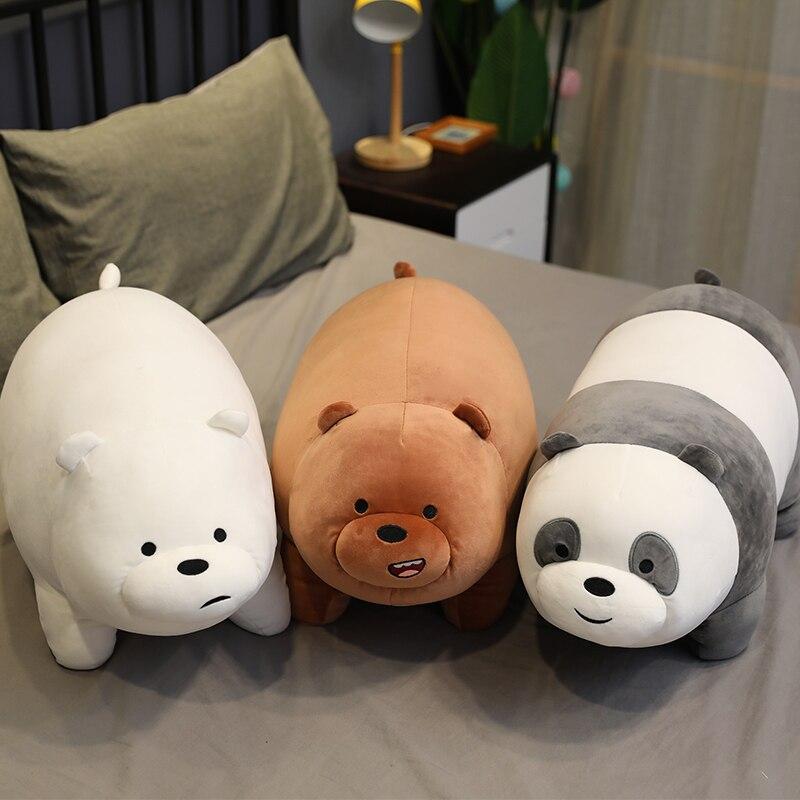 Travesseiro de pelúcia de três ursos, desenho animado, boneca, deitar, panda, brinquedos de pelúcia, melhores presentes para crianças, presente de aniversário