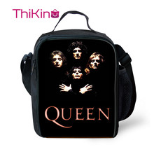 Thikin The Queen Band Lunch Bags for Teenagers bolsa termica Boys Fashion Portable Cooler Box Cartoon Pattern Tote Picnic Pouch