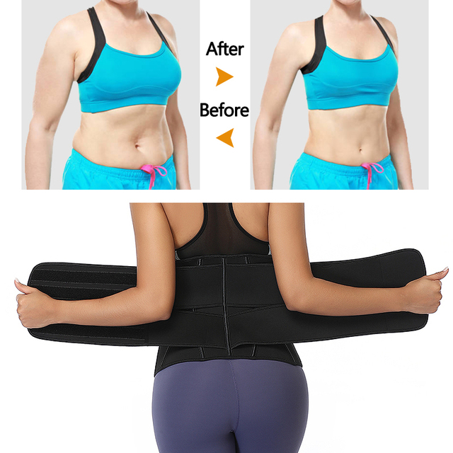 Black Slimming Belt Waist Trainer Corset Sauna Sweat Faja Sport Girdles Shaper Lumbar Trimmer Straps Modeling Women Shapewear 4