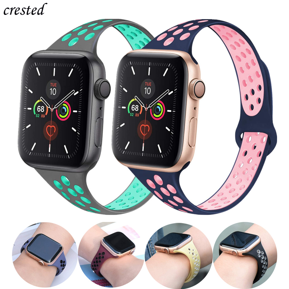 Slim Strap For Apple Watch 5 Band 40mm 44mm IWatch Band 38mm 42mm Breathable Silicone Bracelet Apple Watch 3 4 2 38 42 40 44 Mm