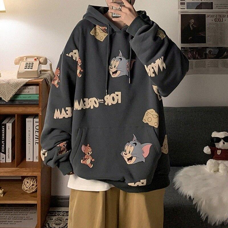 Толстовка женская оверсайз с мультяшным принтом, пуловер в стиле Харадзюку, Повседневная модная Милая толстовка унисекс, толстовка с капюш...