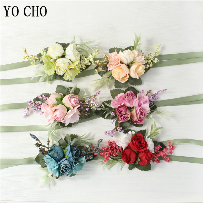 YO CHO Boutonniere Wrist Corsage Wedding Bridesmaid Bracelet Silk Rose Flower Party Prom Girl Wrist Corsage Wedding Boutonniere