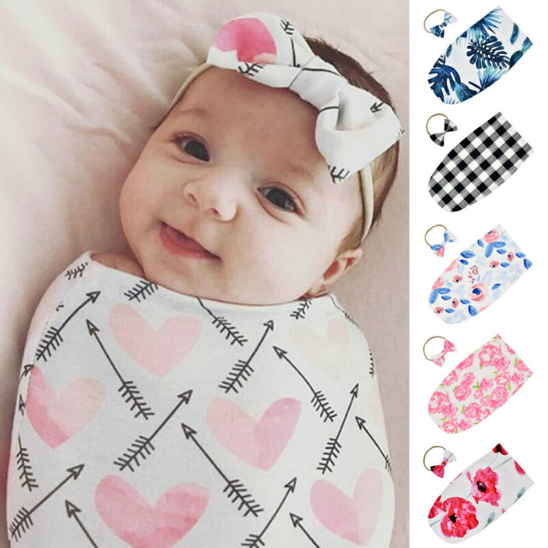 2pcs Newborn Bedding Sleeping Bags Toddler Baby Girls Swaddle Blanket Sleeping Boys Swaddle Wrap Headband Set Baby Photo Props