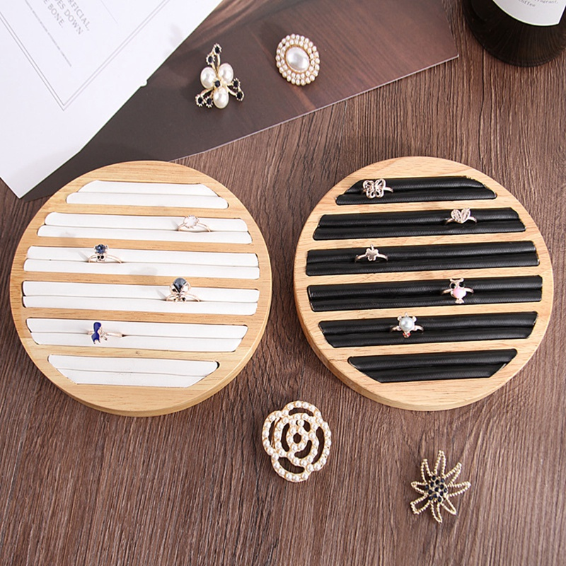 1 Pc Rings Display Tray Wooden Round Ring Holder Showing Plate Jewelry Organizer Showcase For Shop
