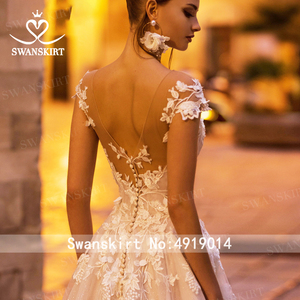 Image 3 - אופנה אפליקציות חתונת שמלת Swanskirt N131 מתוקה אונליין גב פתוח נסיכת כלה שמלת משפט רכבת vestido דה noiva
