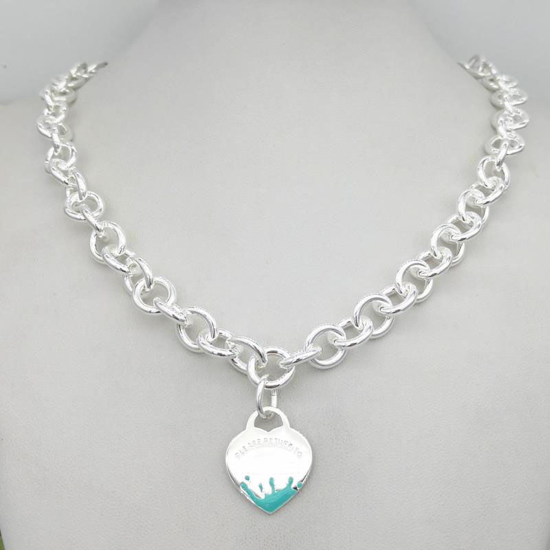1: 1 argent sterling 925 classique mode exclusif bleu émail eau fleur coeur pendentif collier bijoux cadeau de vacances