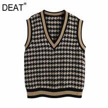 [Deat] 潮ファッション2021春の新作秋vネックストライプルーズフィットニットカジュアルなセーターのベスト女性13C205