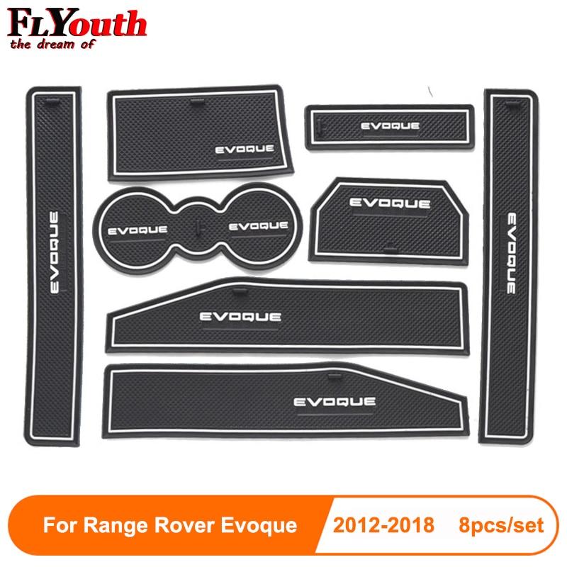 8pcs For Range Rover Evoque 2012-2018 Door Groove Mat Non-Slip Rubber Interior Car Door Armrest Storage Panel Mat Car Styling