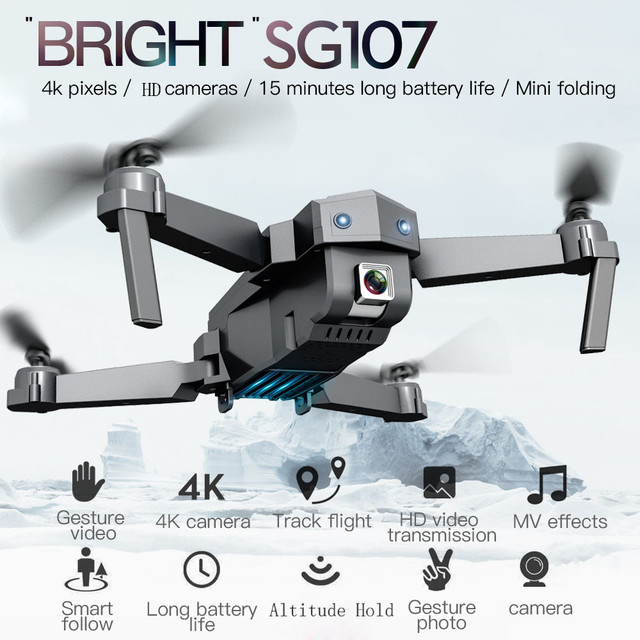 SG107 2 4G 4ch 6 AXIS Folding Drone 4k WIFI FPV HD Camera 3 7V 1200mAh Quadcopter Altitude Hold Durable RC Drone RC Helicopters