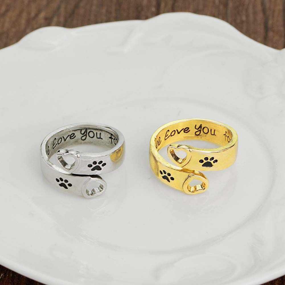 """Moda Para Animais de Estimação Da Pata Do Cão Impressão Coração Oco Anel Pata Mão Carimbada te amo para sempre """"Pegadas de Cães Garras Anéis Amor presente"""
