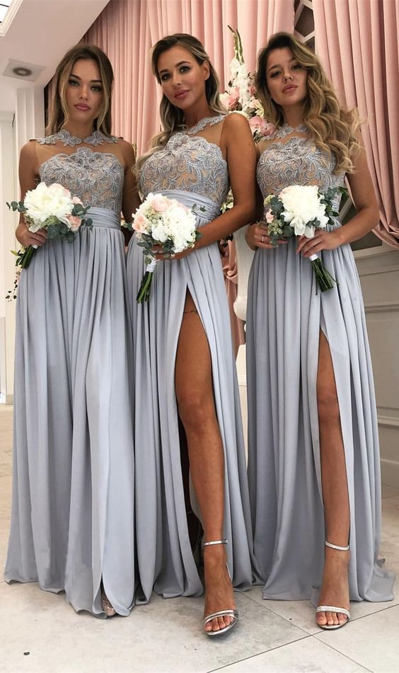 Sheer Top Bridesmaids Dresses Silver Women Wedding Party Dress Side Slit Dress Wedding Guests Vestido Invitada