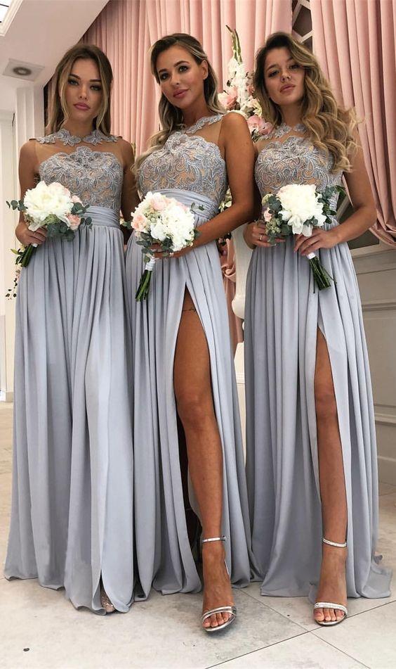 Sheer Top Bridesmaids Dresses Silver Women Wedding Party Dress Side Slit Dress Wedding Guests Vestido Invitada