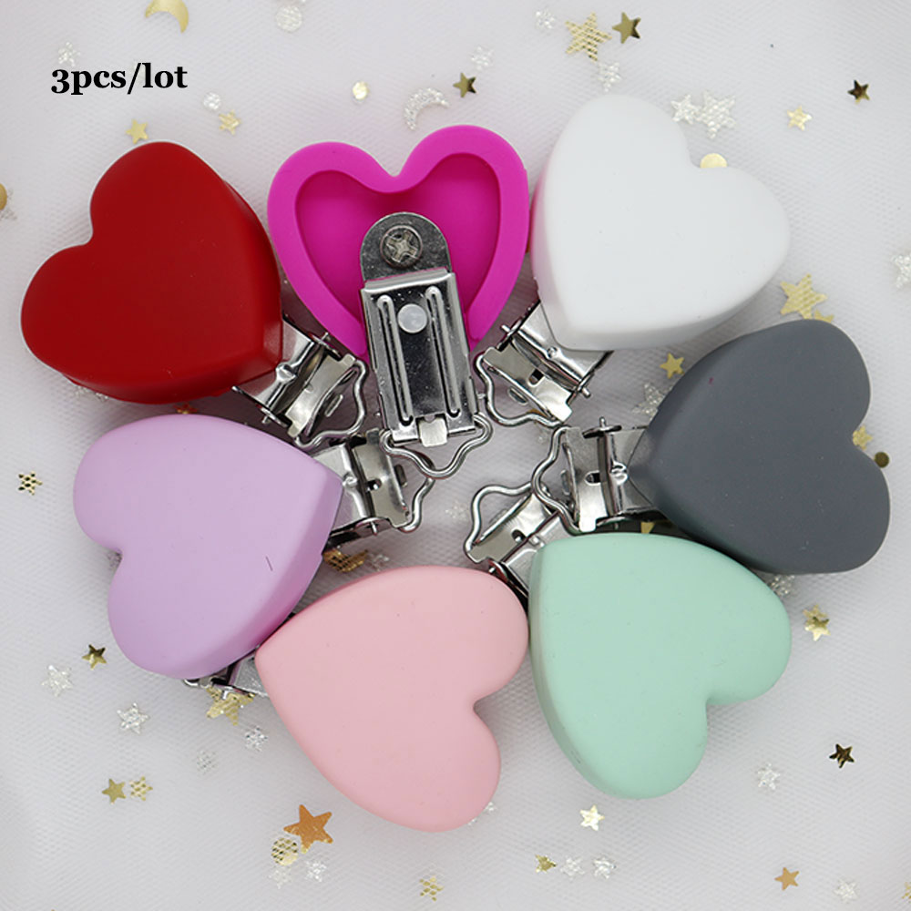 3Pcs Heart Shape Silicone Baby Pacifier Chain Clip Nipple Holder DIY Teething Soothie Holder Dummy Clips Perle Silicone Clips