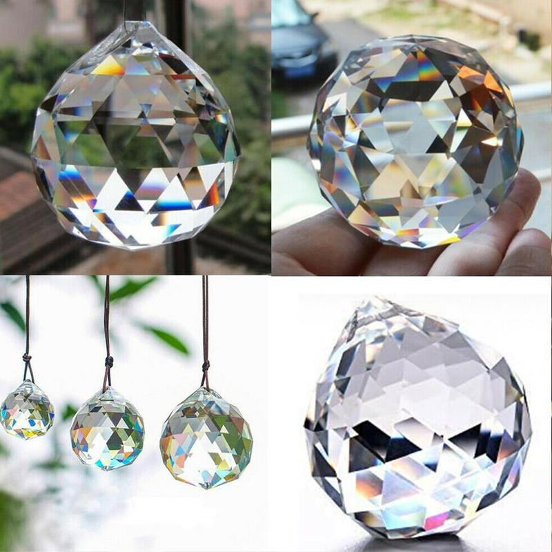 Hanging Crystal Ball Chandelier Prisms Ceiling Lamp Lighting Hanging Drop Pendants