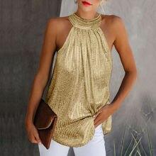 Women Gold Blouse 2019 New Fashion High Neck Sleeveless Hatler Tank Top Vest Sum