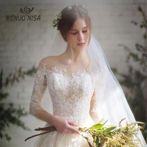Image 3 - אופנה פשוט 100 CM ארוך רכבת Vestido דה Noiva 2020 סגנון חדש שלושה רבעון בתוספת גודל חתונה שמלת תחרה טול כלה אשליה