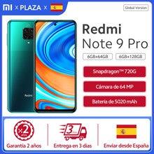 Xiaomi- Smartphone Redmi Note 9 Pro con 128GB teléfono inteligente Redmi Note 9 Pro, versión global, con memoria de 6GB RAM y 128GB de ROM, soporta NFC, pantalla táctil FHD de 6.67