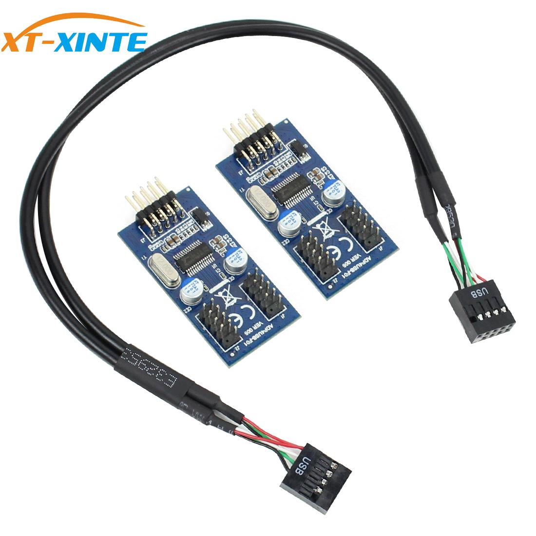 Motherboard USB 2.0 9PIN Header Multiplier Splitter 9 Pin 1 To 2 Port HUB Extension Cable 30cm/60cm Connector Adapter