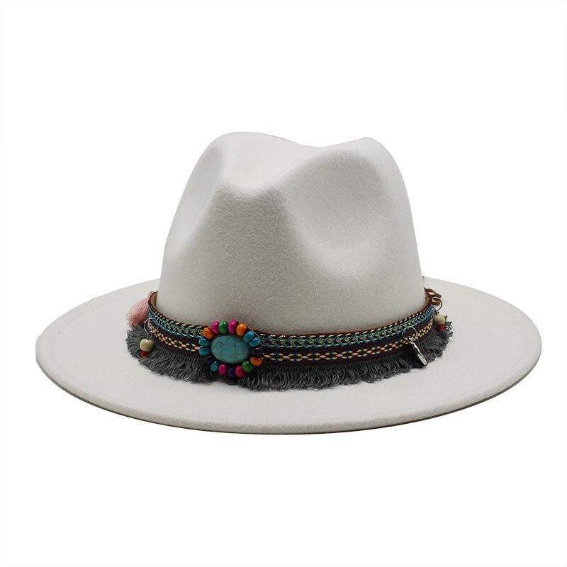Brand Winter Wool Fedoras Hats Women Men Felt Top Jazz Hat European Cowboy Hat Adjustable Green Caps