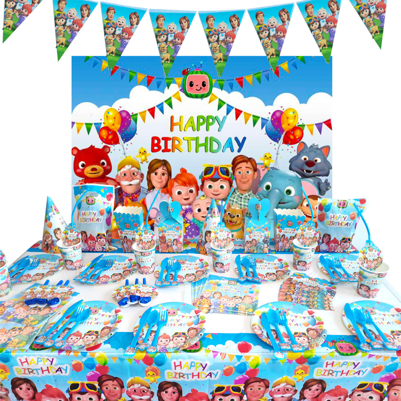 Family Theme Cocomelon Birthday Party Supplies Disposable Cup Plate Napkin Hat For Kids Cocomelon Party Decoration Ballons Flags