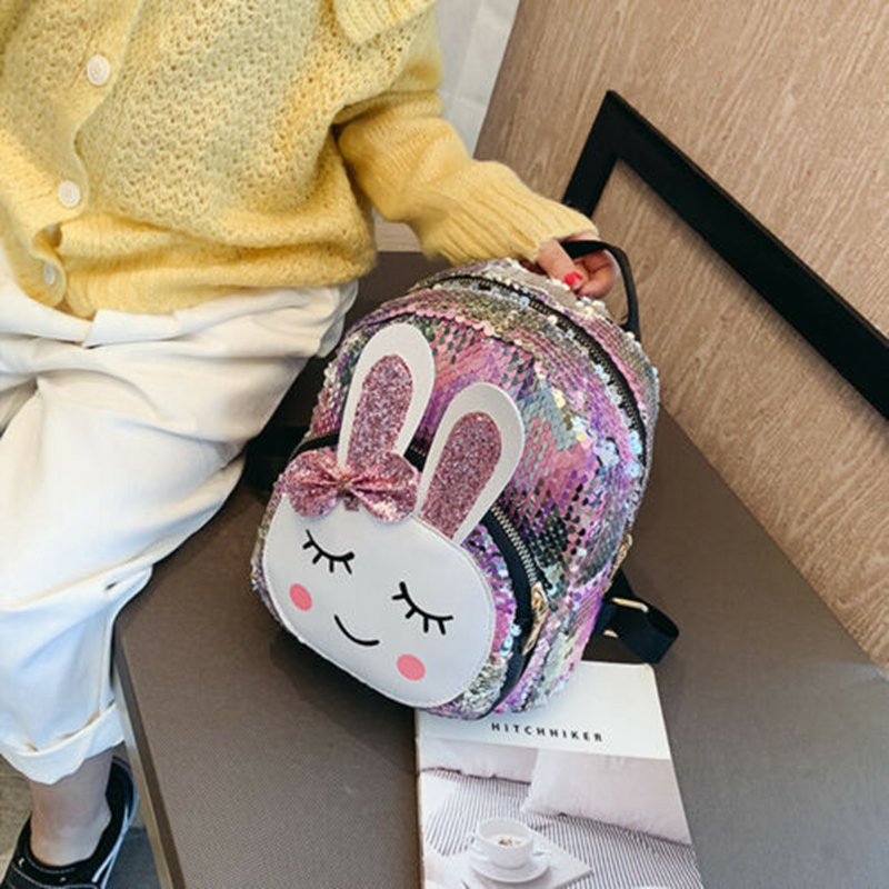 Glitter Kids Girls Sequins Bunny Ears Mini Backpack Shoulder Travel Bag Satchel Toddler Children Girls Easter Bunny Shoulder Bag
