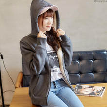 New women's winter college wind loose students hair Hooded sweatshirt hoodie plus velvet solid color hoodies Jacket lamb(China)